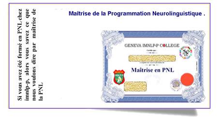 La maîtrise de la PNL comprend aussi 2 modules sur la psychologie créative...